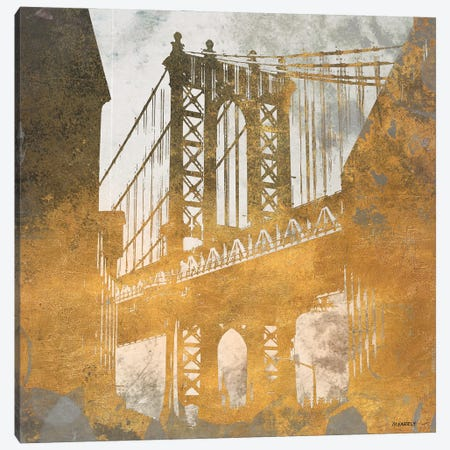 NY Gold Bridge At Dusk II Canvas Print #DAM126} by Dan Meneely Canvas Wall Art