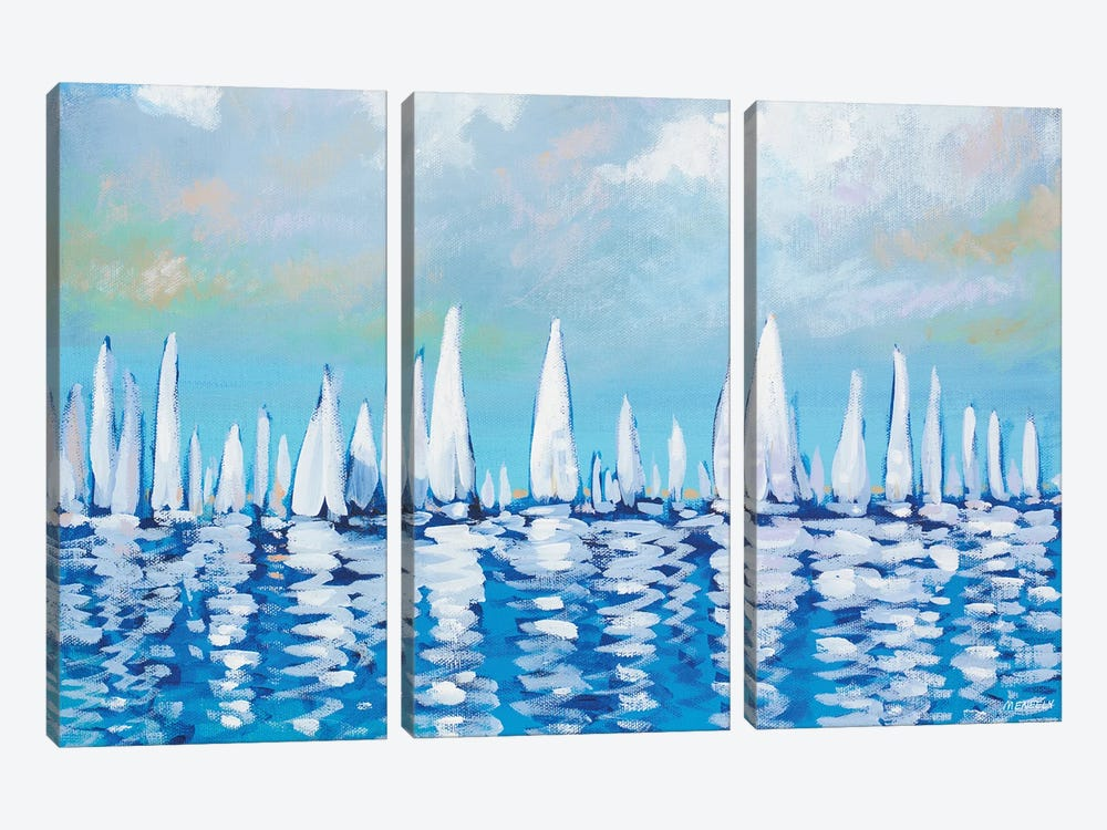 Regatta On The Sea by Dan Meneely 3-piece Canvas Artwork