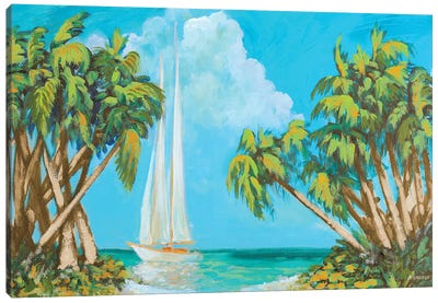 Sailboat Among Palms Canvas Art Print