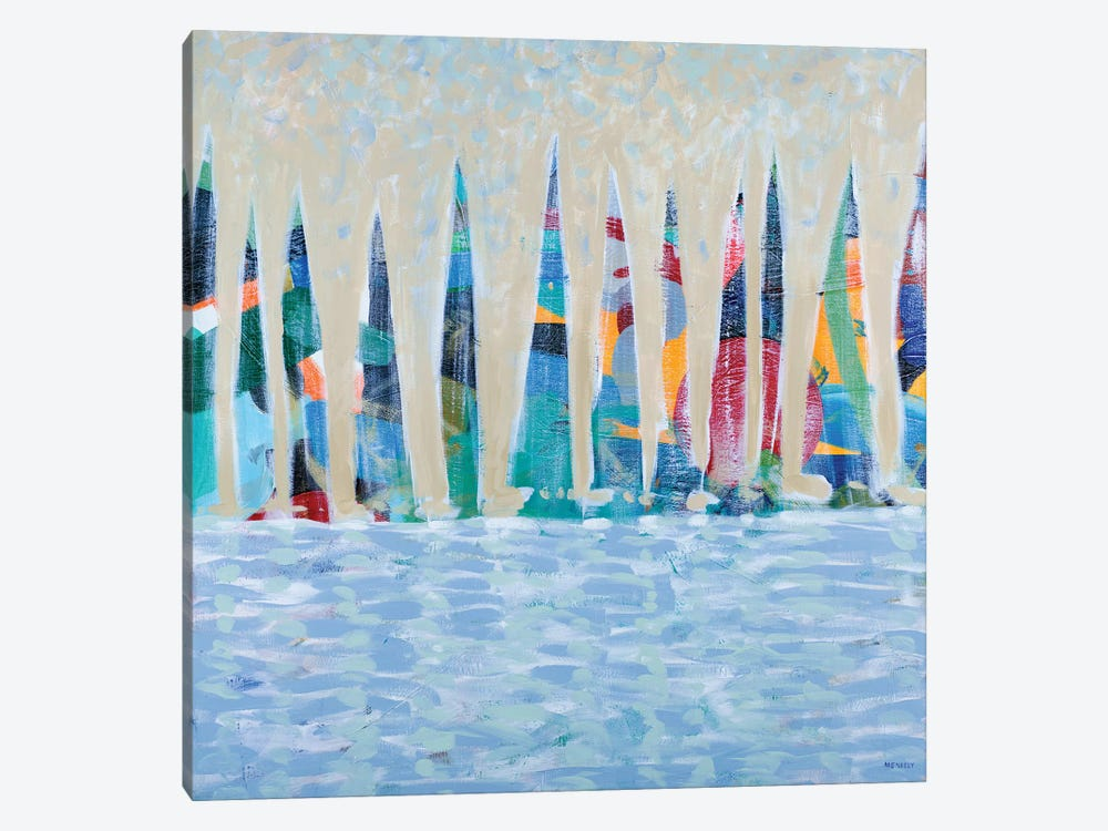 Dozen Colorful Boats by Dan Meneely 1-piece Canvas Wall Art