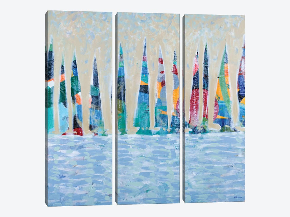 Dozen Colorful Boats by Dan Meneely 3-piece Canvas Artwork