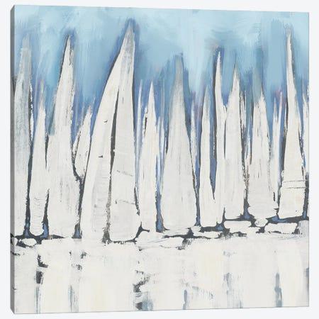 White Sailboat Crowd II Canvas Print #DAM172} by Dan Meneely Canvas Artwork