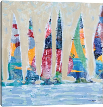 Dozen Colorful Boats Square II Canvas Art Print