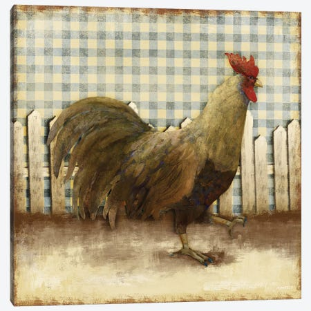 Rooster on Damask I Canvas Print #DAM26} by Dan Meneely Canvas Artwork