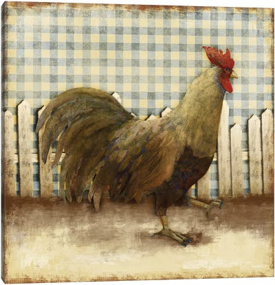 Rooster on Damask I Canvas Art Print