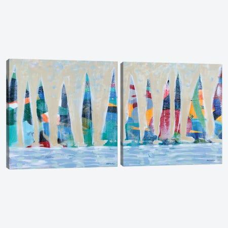 Dozen Colorful Boats Square Diptych Canvas Print Set #DAM2HSET002} by Dan Meneely Canvas Artwork