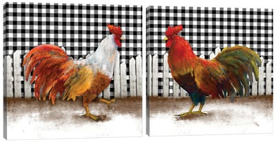 Morning Rooster Diptych Canvas Art Print