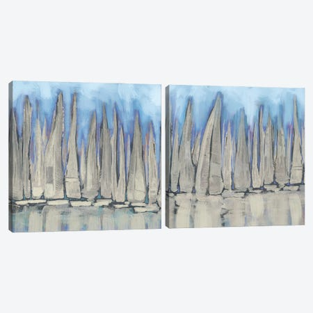 Sailboat Crowd Diptych Canvas Print Set #DAM2HSET005} by Dan Meneely Canvas Print