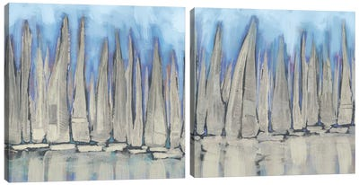Sailboat Crowd Diptych Canvas Art Print