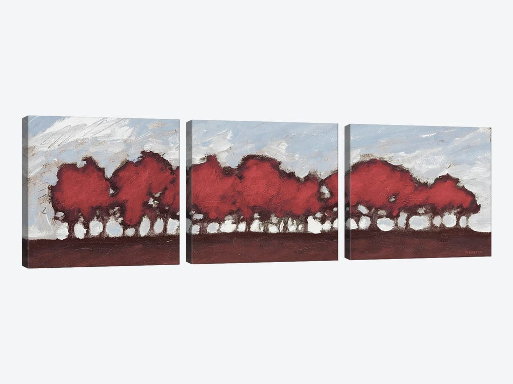 Tree Row Sunset In Red by Dan Meneely 3-piece Canvas Wall Art