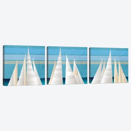 Main Sail Harbor Triptych Canvas Print Set #DAM3HSET001} by Dan Meneely Canvas Artwork