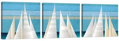 Main Sail Harbor Triptych Canvas Art Print