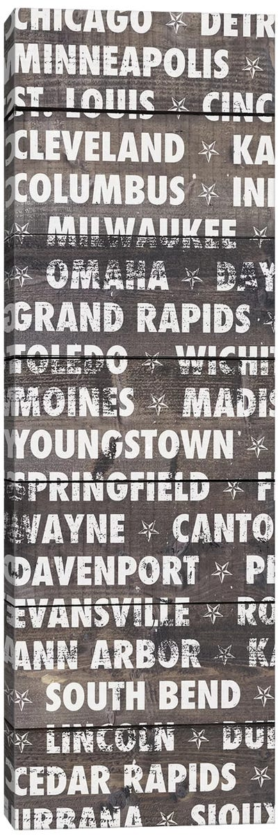 Midwest Wood Type Canvas Art Print