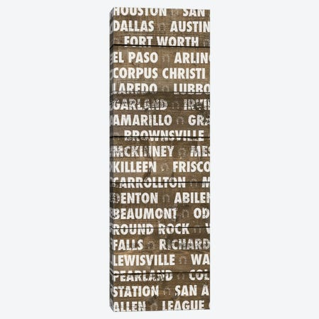 Texas Wood Type Canvas Print #DAM58} by Dan Meneely Canvas Artwork