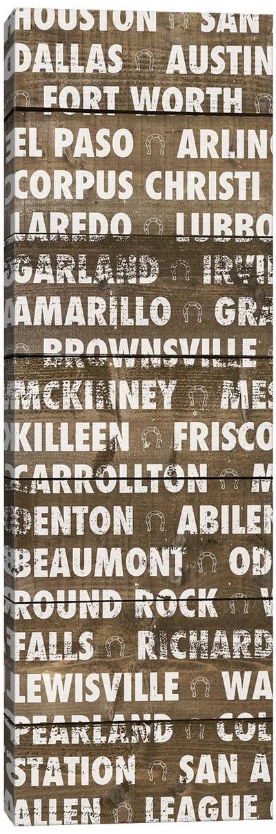 Texas Wood Type Canvas Art Print