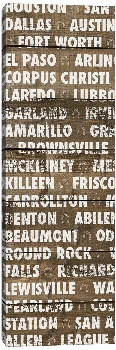 Texas Wood Type Canvas Art Print