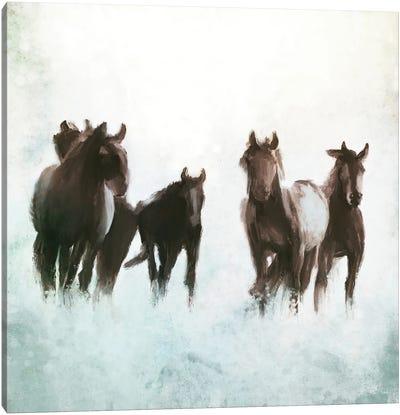 Horses Running through the Surf Canvas Art Print