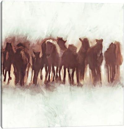 Team of Brown Horses Running Canvas Art Print
