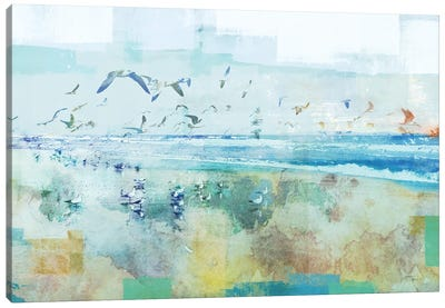Beach Day Birds Canvas Art Print