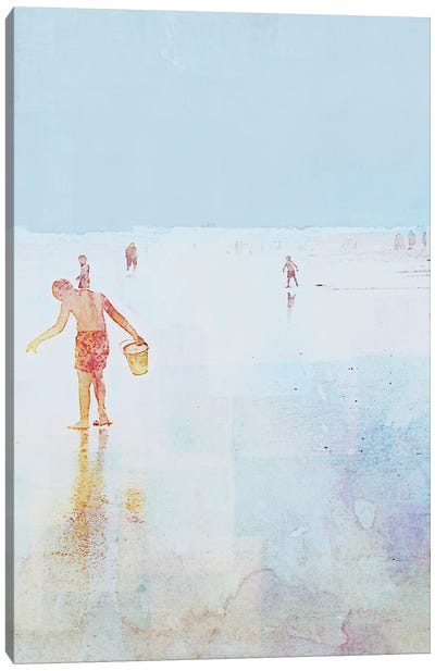 Beach Day Shelling Canvas Art Print
