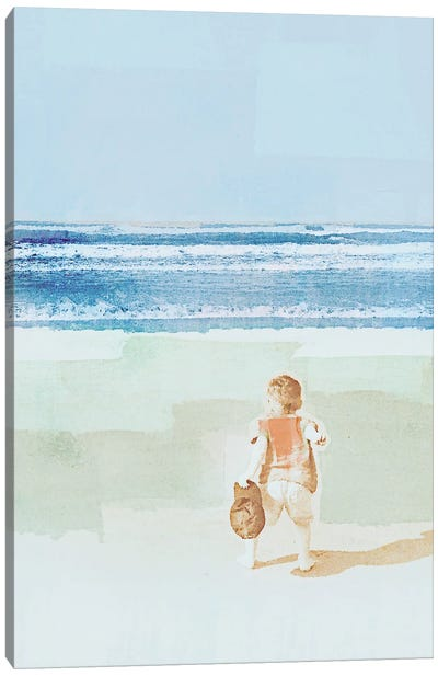 Beach Day Throwing Canvas Art Print