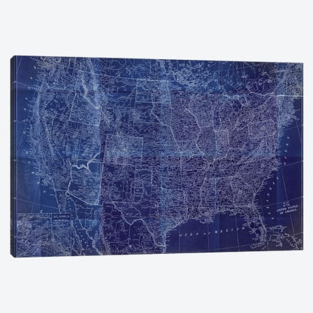 Cobalt US Map Canvas Print #DAM94} by Dan Meneely Art Print