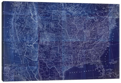 Cobalt US Map Canvas Art Print