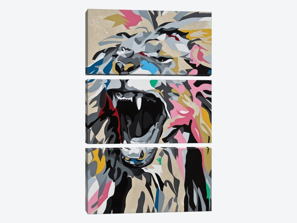 Roaring Lion by DAAS 3-piece Canvas Art