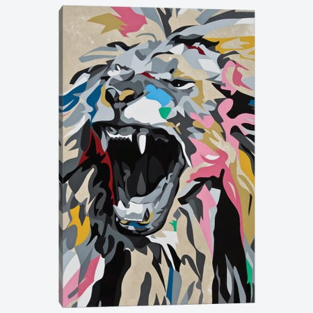 Roaring Lion Canvas Print #DAS31} by DAAS Canvas Wall Art