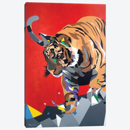 Geo Tiger Canvas Print #DAS5} by DAAS Canvas Wall Art