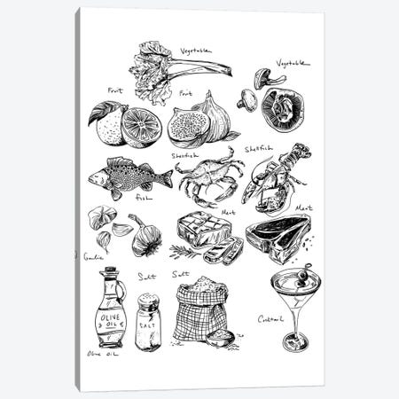 Food Labels All Canvas Print #DAY21} by Amber Day Canvas Art Print
