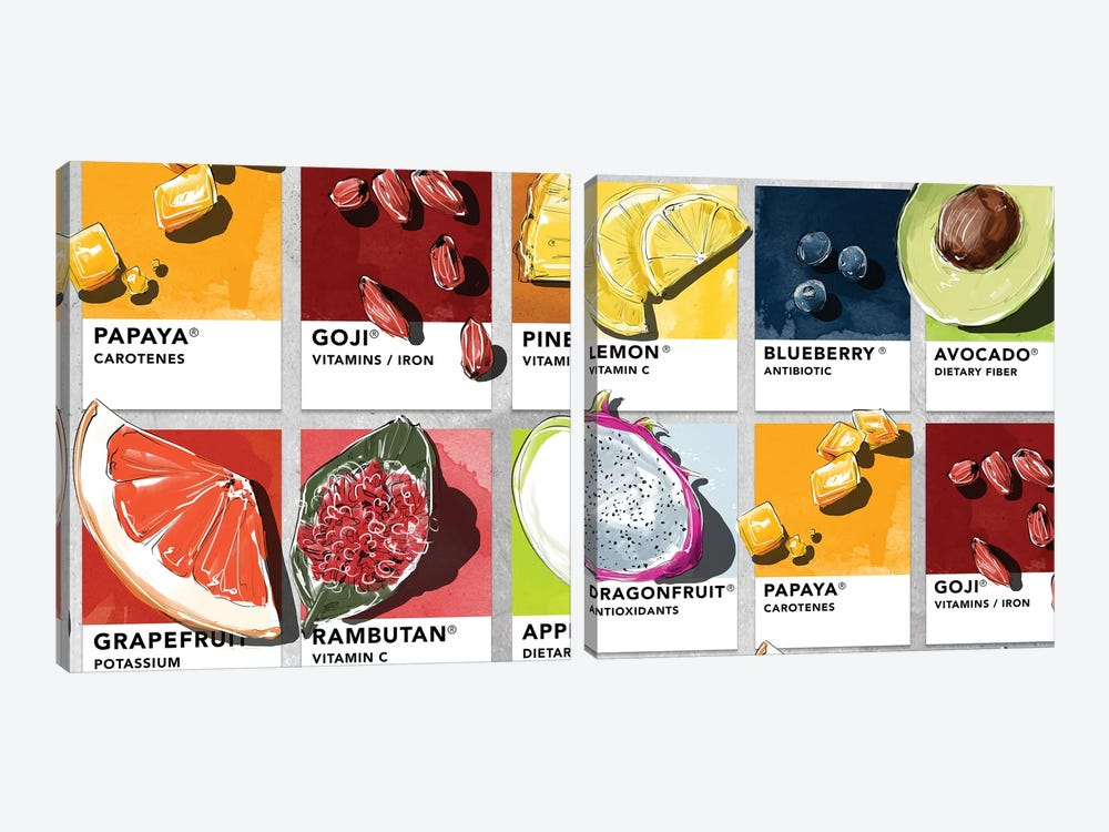 Fruit Diptych by Amber Day 2-piece Canvas Art Print