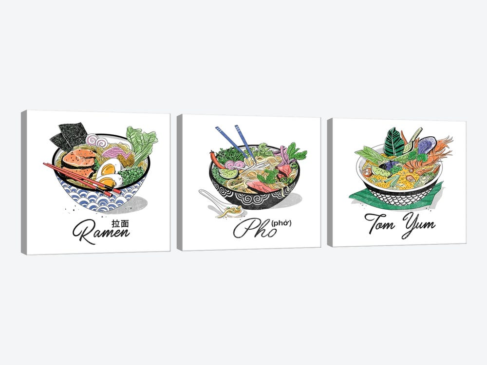 Pho Triptych by Amber Day 3-piece Canvas Art