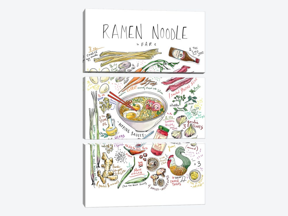 Ramen Noodle Bar by Amber Day 3-piece Canvas Art