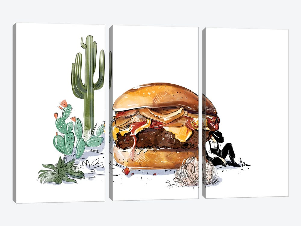 Southwest Burger by Amber Day 3-piece Canvas Art Print