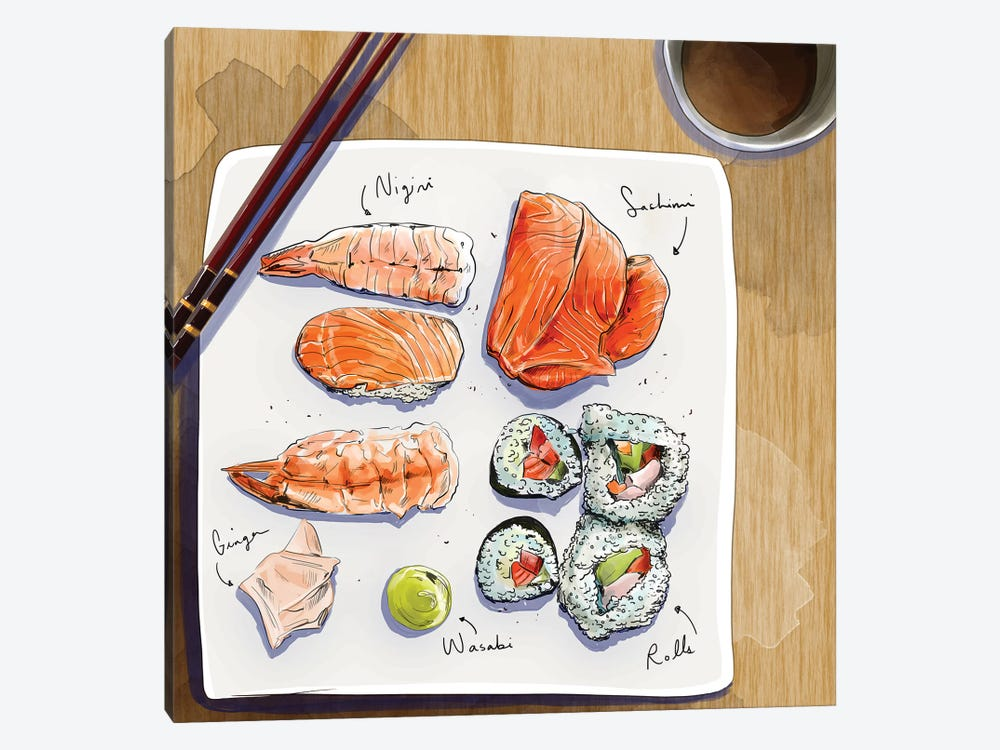 Sushi by Amber Day 1-piece Canvas Art Print