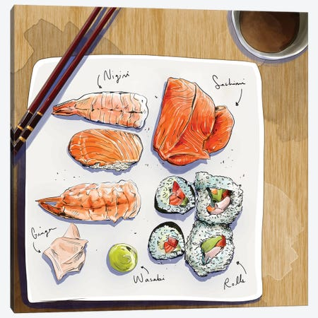 Sushi Canvas Print #DAY47} by Amber Day Canvas Wall Art