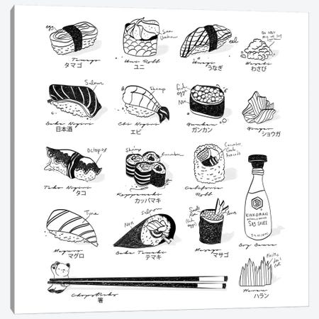 Sushi Guide Canvas Print #DAY48} by Amber Day Canvas Print