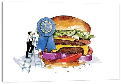 Blue Ribbon Burger Canvas Art Print