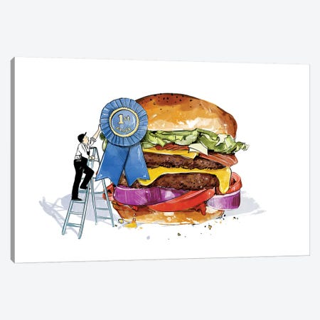 Blue Ribbon Burger 3-Piece Canvas #DAY4} by Amber Day Canvas Artwork