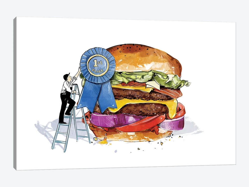 Blue Ribbon Burger by Amber Day 1-piece Art Print