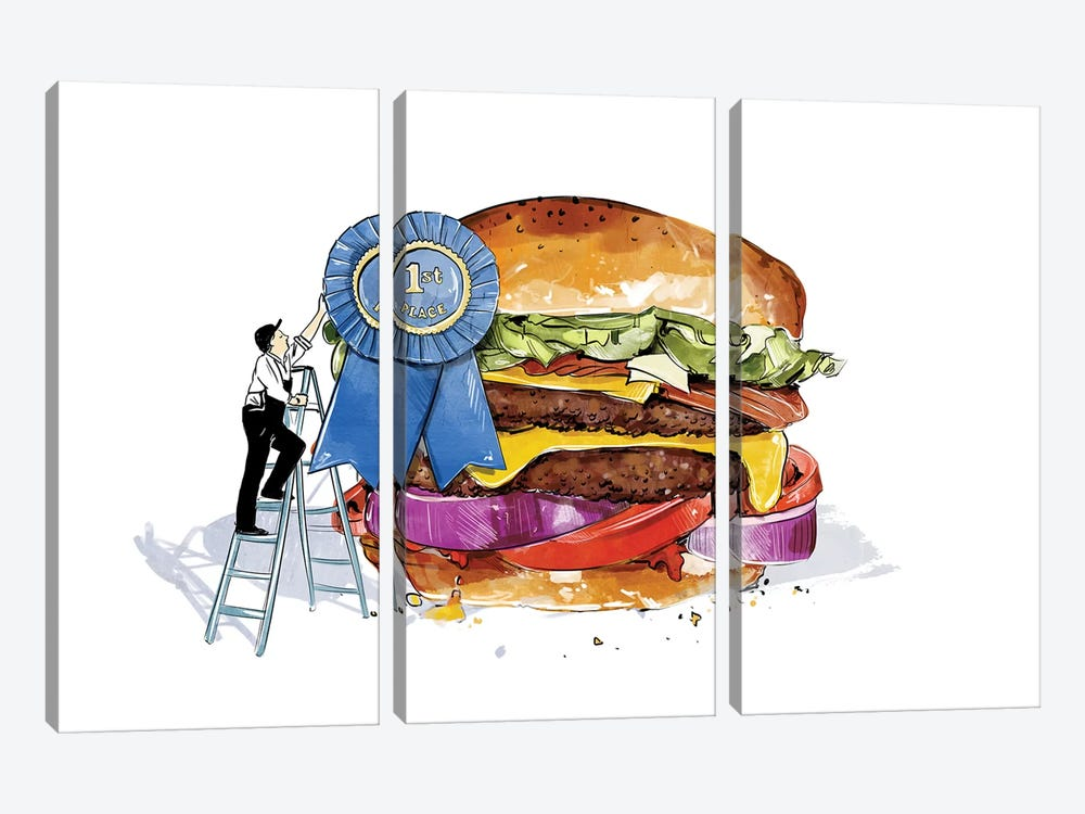 Blue Ribbon Burger by Amber Day 3-piece Art Print