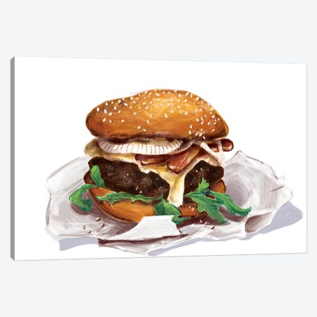 Bacon Burger Canvas Print #DAY55} by Amber Day Canvas Print