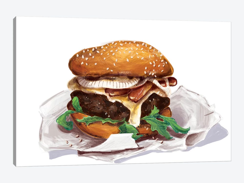 Bacon Burger by Amber Day 1-piece Canvas Artwork