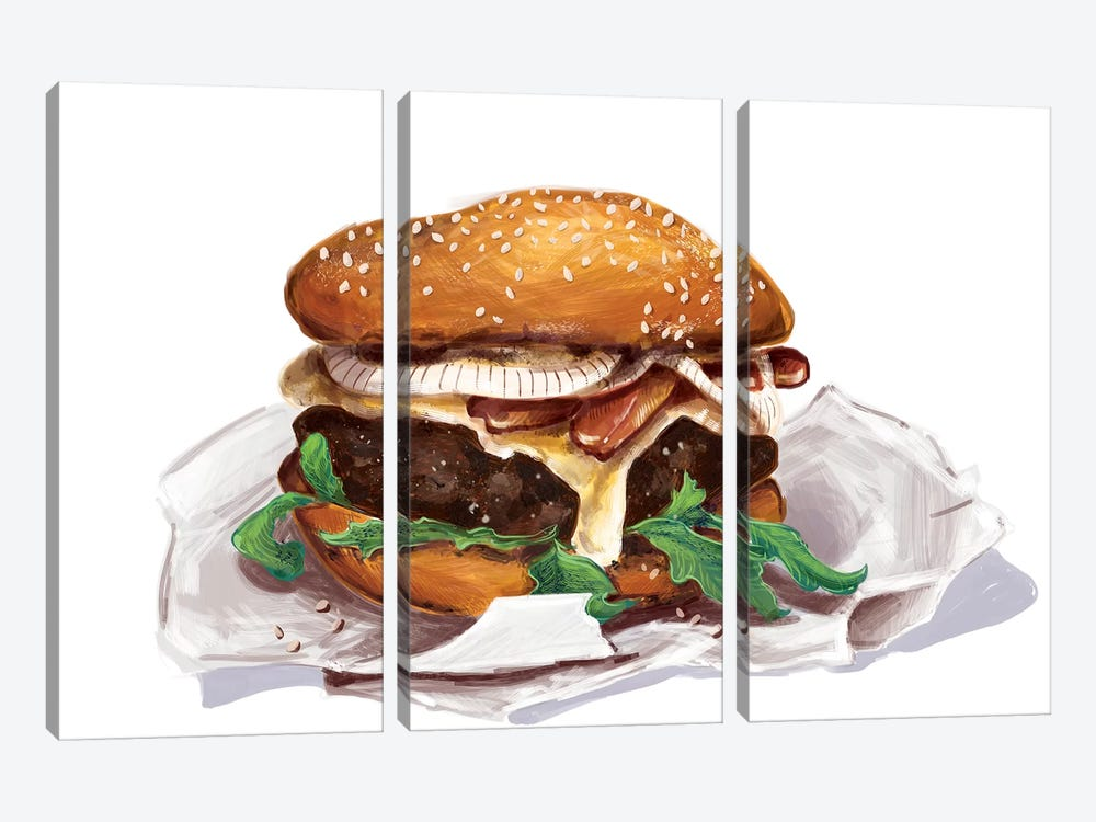 Bacon Burger by Amber Day 3-piece Canvas Artwork