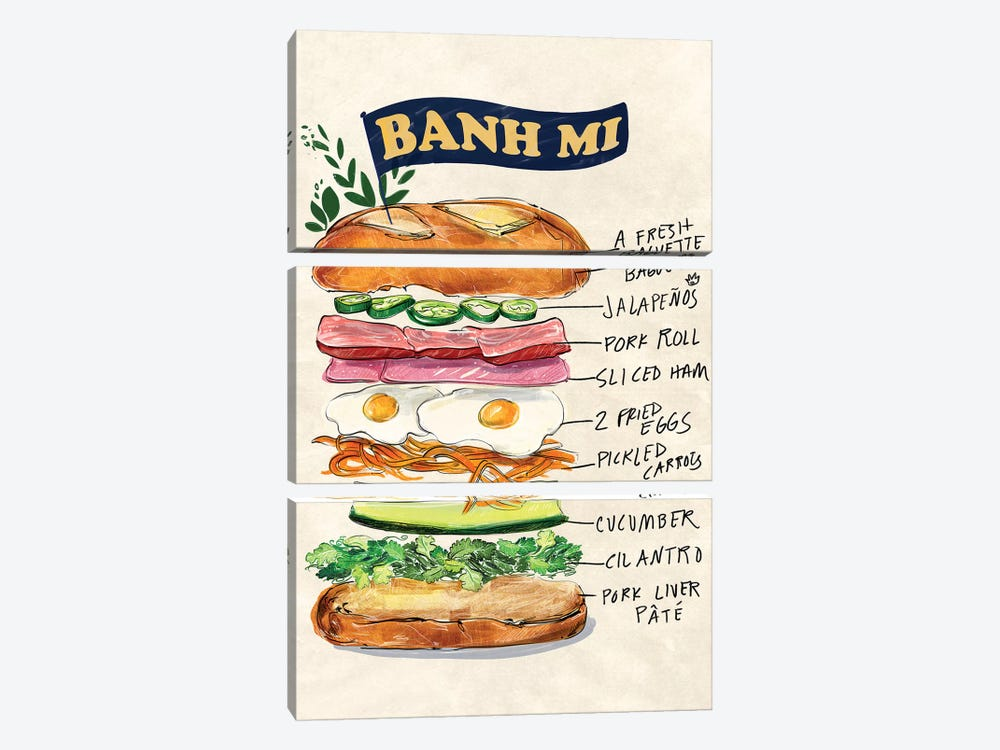Bahn Mi by Amber Day 3-piece Canvas Print