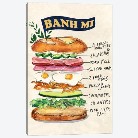 Bahn Mi 3-Piece Canvas #DAY56} by Amber Day Canvas Art Print