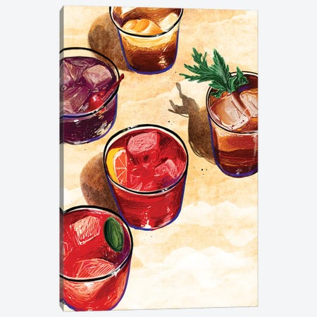 Cocktails Canvas Print #DAY58} by Amber Day Canvas Wall Art