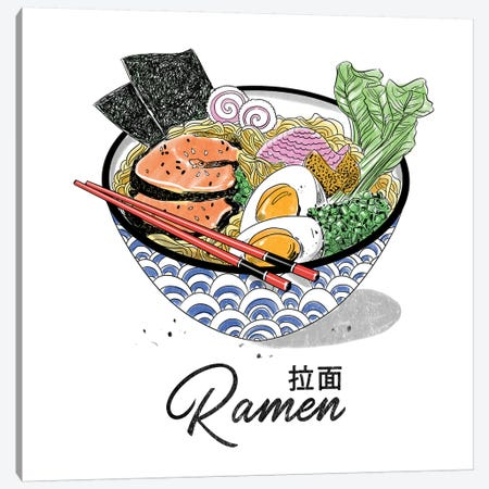 Bowl Of Ramen Canvas Print #DAY5} by Amber Day Canvas Artwork