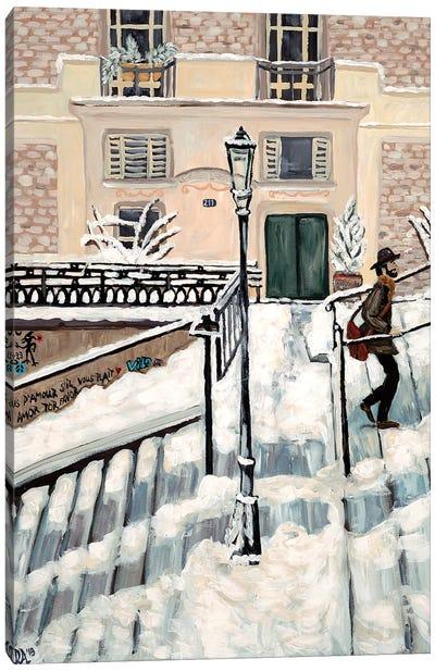 Montmartre Snow Canvas Art Print